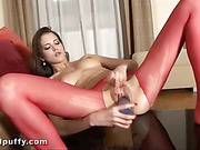 brunette, couch, pussy, stockings