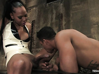 enchained black slave gets