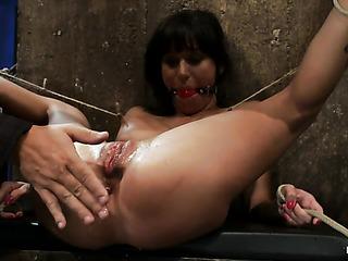 brunette babe bondage gets