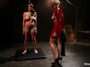 behind the scenes, femdom, lesbian, strapon