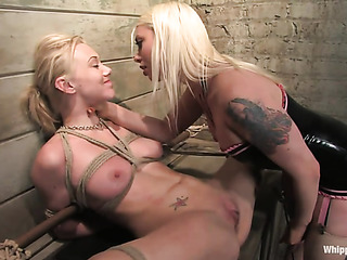 tattooed blonde with strap-on
