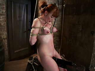 hogtied redhead babe gets