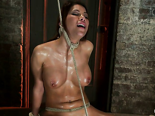 oiled brunette milf gets