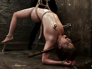 redhead gal gets tied