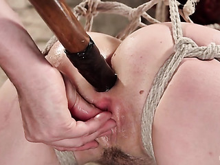 hogtied redhead gets her