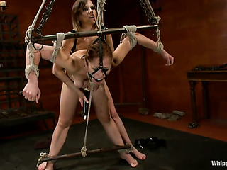 brunette gal gets blindfolded