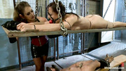 two brunettes slaves getting
