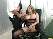 big tits, blonde, office, tits
