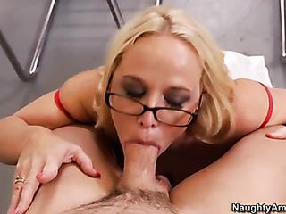 slutty blonde teacher opens
