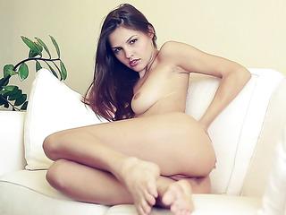 brunette girl strips her