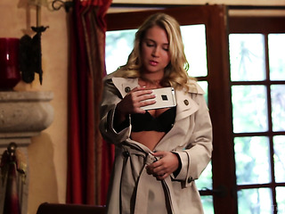 blonde overcoat shows off