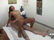 asian, bra, massage, panties