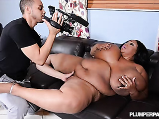 plump ebony chick gets