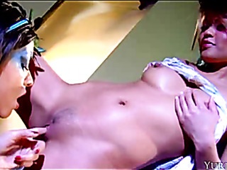two busty chicks play