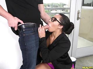 black haired milf glasses