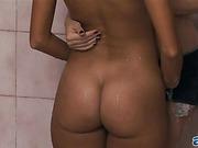caught, hardcore, lesbian, shower