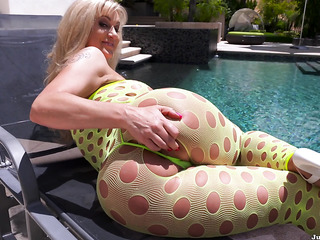blonde milf yellow fishnets