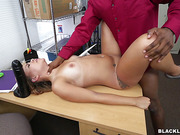 black, interracial, on her knees, table
