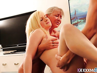 blonde coed sucks cock