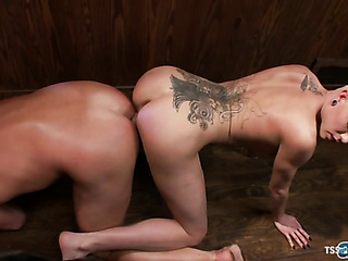 tattooed lesbian dominates horny