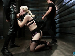 sexy blonde whore strapped