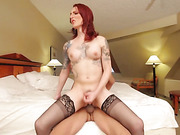bedroom, hardcore, redhead, shemale