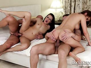 three horny couples are