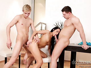 brunette bitch having threesome